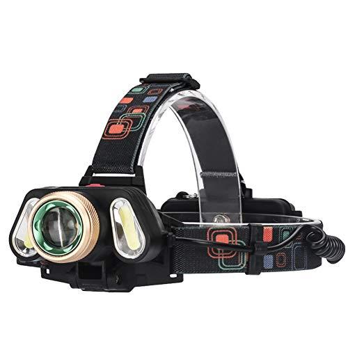 YAYUMD Lampe Frontale Puissante, Torche Frontale USB Rechargeable LED-T6 Perles Lights, 3 Mode Eclairage,Zoomable, Réglable,Léger pour Course,Marche,Camping,2 Batterie+Câble USB fourni