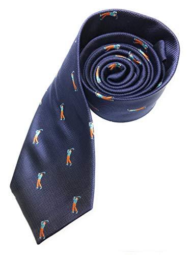 Gentleman: Hochwertige blaue Krawatte mit Golfspielern - Golfer - Golf - 2