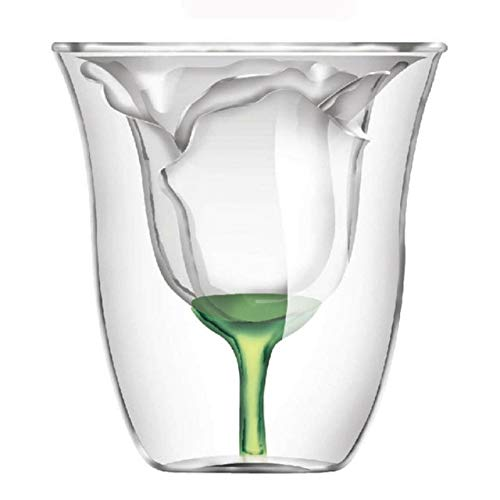 zyr Forma de Rosa Forma Doble Bilayer Copa de Vino Coctel de Vidrio Flip Licor Copa Hogar Bar Amante Regalo-Transparent