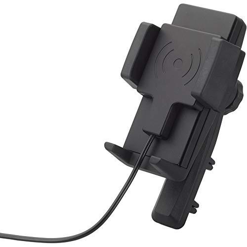 hr-imotion Universal Fast Wireless Charging 5W, 7,5W, 10W Halterungslösung für Smartphones zwischen 57mm & 86mm Breite [Designed in Germany I inkl. Qualitäts-Charger I 360° Drehbar I Dual-Lüftung]