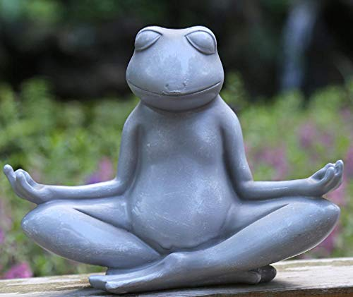 pah-macy Einfach tierfigur Gartendeko Skulptur Tierfigur Aus Wetterfestem Polyresin Dekofigur Gartendekoration Zum Bepflanzen Deko Garten Terrass Im Freien-Grauer Yoga Frosch Modell 1