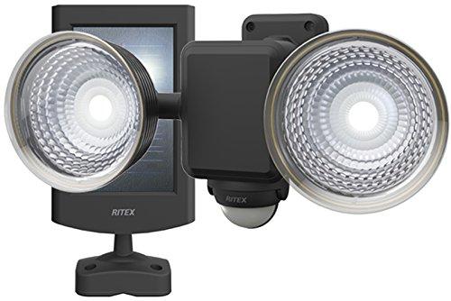 ムサシ RITEX フリーアーム式LEDセンサーライト(1.3W×2灯) 「ソーラー式」 防雨型 S-25L