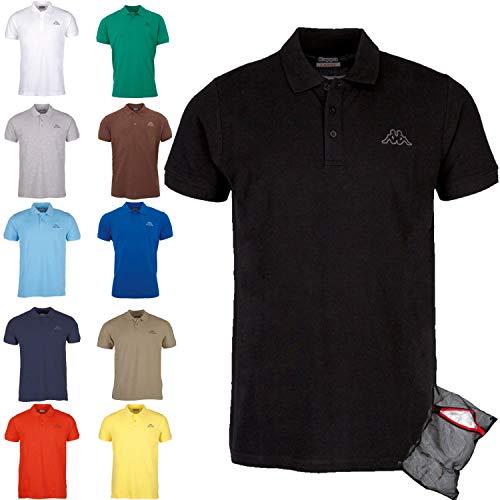 Kappa Herren Poloshirt Ziatec Edition mit praktischem Wäschenetz 1er bis 6er Packs in vielen Farben verfügbar, Größe:4XL, Farbe:1 x schwarz