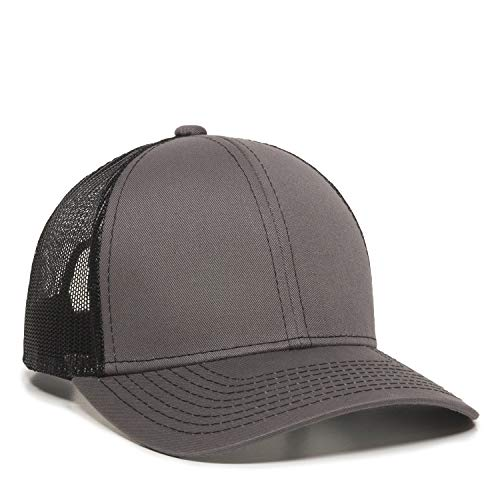 Outdoor Cap Structured mesh Back Trucker Cap, Charcoal/Black, One Size