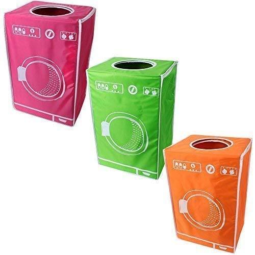 teprovo 3er Set bunt faltbarer Wäschekorb Wäschesammler Dreckwäsche Schmutzwäschebehälter 50 L orange grün pink