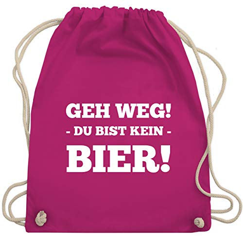 Shirtracer Festival Turnbeutel - Geh Weg! Du bist kein Bier! - Unisize - Fuchsia - coole sportbeutel - WM110 - Turnbeutel und Stoffbeutel aus Baumwolle