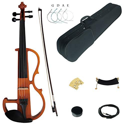 Kinglos 4/4 Farbig Massivholz Fortgeschritten Elektrische Violine Geige Set mit Ebenholz Beschläge (DSG1804)