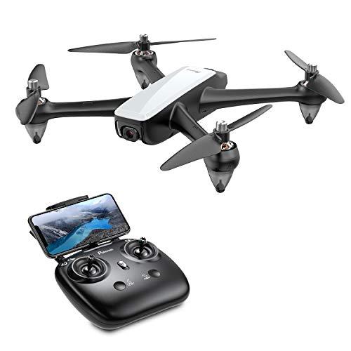 Potensic D60 FPV Drohne mit 1080P HD GPS Return Home, RC Quadrocopter mit Bürstenlose Motoren, 5GHz live Übertragung, Lange Flugzeit Folge Mir Coming Home (Weiß)