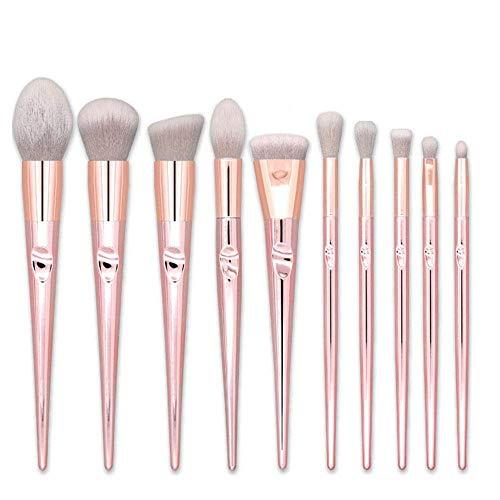 WLT Pinceaux de maquillage Real Techniques Hamkaw 10 pièces Face Blush Fard à paupières Fond de teint poudre Pinceaux cosmétiques Correcteur, Pinceaux de maquillage de voyage rose pour débutant (Or