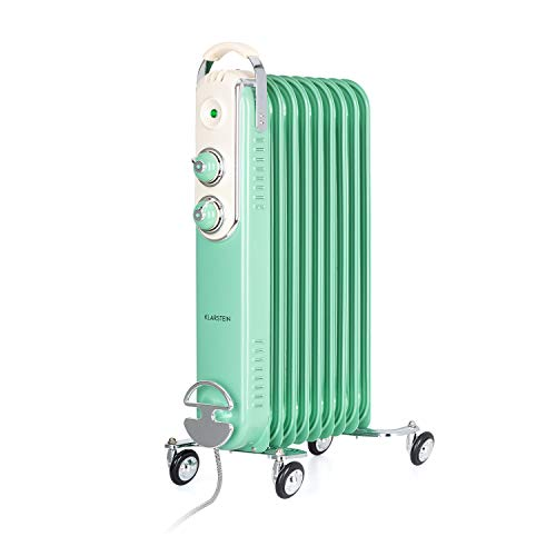 Klarstein Thermaxx Retroheat - Radiador de aceite, 2 reguladores, Termostato, Portacables, Luces LED, 4 ruedecillas, 3 niveles de calor, Potencia 2000 W, Hasta 40 m², 44 x 67,5 x 27 cm, Verde