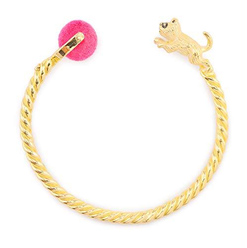 Monkimau dames armbanden kat van messing met goud geplatteerd bal roze