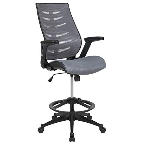 Flash Furniture High Back Dark Gray Mesh Spine-Back Ergonomic Drafting Chair with Adjustable Foot Ring and Adjustable Flip-Up Arms