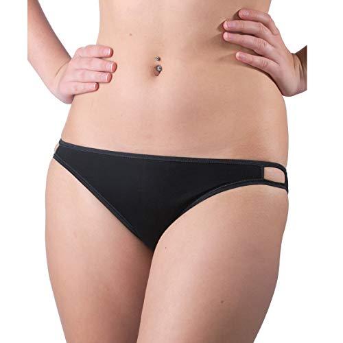 HERMKO 5040 Damen Mini-Slip (Brazilian-Style) Cotton/Elastan, Farbe:schwarz, Größe:36/38 (S)