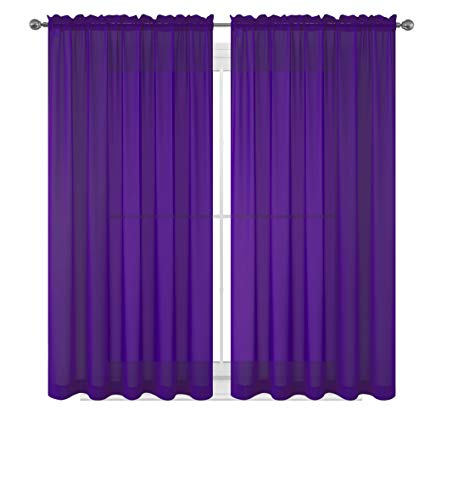 Drape/Panels/Scarves/Treatment Beautiful Sheer Voile Window Elegance Curtains Scarf for Bedroom & Kitchen Fully Stitched and Hemmed, Set of 2 Dark Purple (Dark Purple, 84' Inch Long)