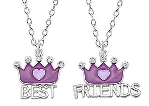 LUIDILUC Best Friends - Collares para mujer para 2 mejores amigos, corona, color plateado y morado