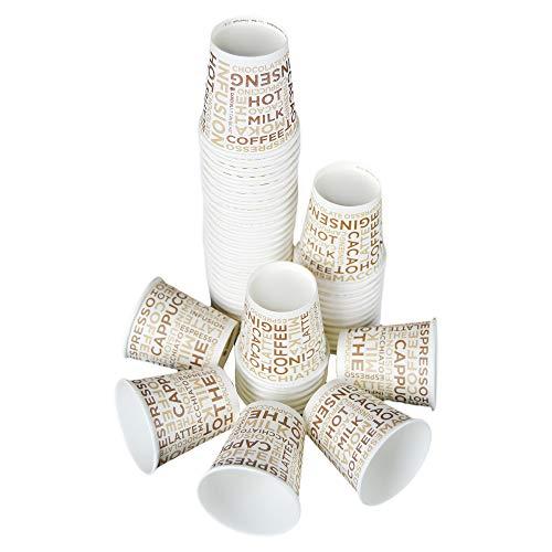 SDG Lot de 200 gobelets à café 8 cl (3 oz) en papier décoré White Paper Cup for Coffee Verre en carton