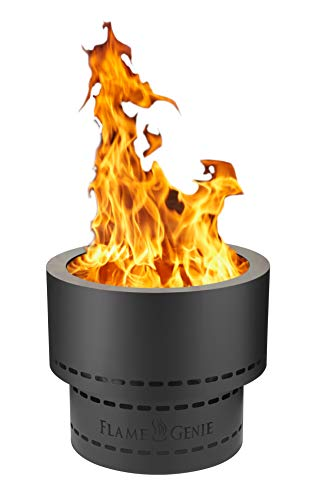 "HY-C FG-19 Flame Genie Portable Smoke-Free Inferno Wood Pellet Fire Pit, USA Made, 19"" Diameter, Black"