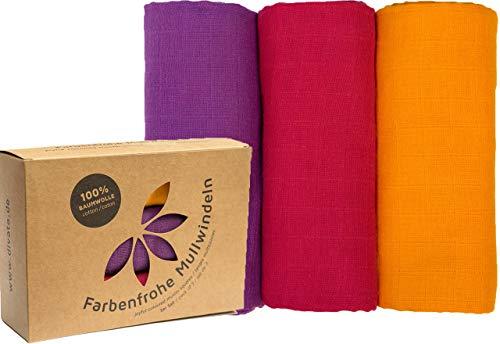divata Bunte Baby Spucktücher (3er Set, Mädchen, 80x80 cm) - Farbige Mullwindeln, Mulltücher | 100% Baumwolle, Oeko-Tex-Zertifiziert