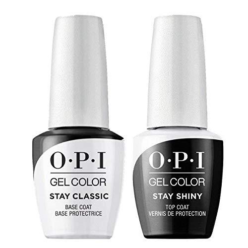 OPI GelColor - Esmalte semipermanente, 15 ml, dos unidades Opi GelColor Stay Classic + Stay Shiny - Esmalte de uñas, para capa de base y capa superior