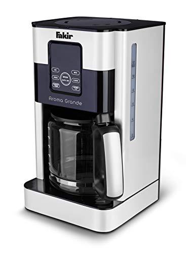 Fakir Aroma Grande - Cafetera de filtro con jarra de cristal, pantalla táctil, indicador de nivel de agua, hasta 12 tazas, color blanco - 1000 W