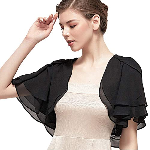 Kate Kasin Women's Soft Chiffon Shawl Wraps Loose Casual Sheer Shrug Open Front Cape Cover Up for Wedding Evening Dress Black XL