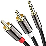 DIGITNOW RCA Cable,3.5mm to 2RCA Audio Auxiliary Adapter Stereo Splitter Cable AUX RCA Y Cord for Smartphones, MP3, Tablets, Speakers, HDTV [3.3FT]