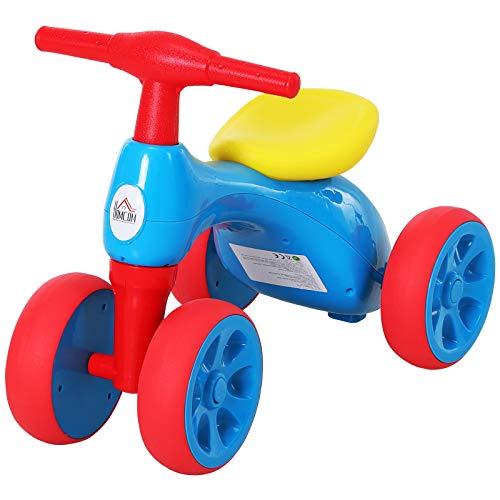 HOMCOM Baby Balance Bike Toddler Training Walker Smooth Rubber Wheels Ride on Toy Storage Bin Blue Red