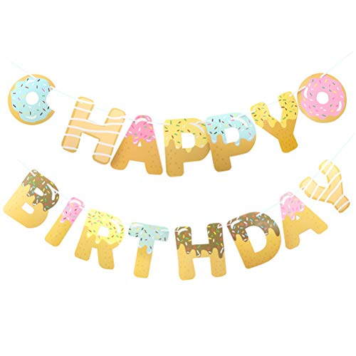 PRETYZOOM 2 Sets Doughnut Design Banner Party Banners Party Garland Festival Favors (Assorted Color)