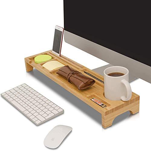 Depory Schreibtisch Tastatur Organizer aus Bambus Holz Aufsatz Regal für optimale Organisation Fächer Ablage gegen Unordnung