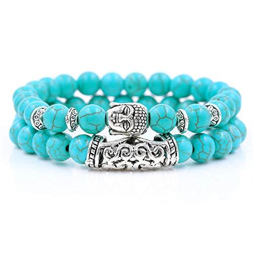 ADGJL Stein Armband Damen,7 Chakra Naturstein Perlen Armreif Elastisch Türkis Armband Yoga Mode Silber Buddha Schmuck Für Männer Frauen 2Pcs / Set