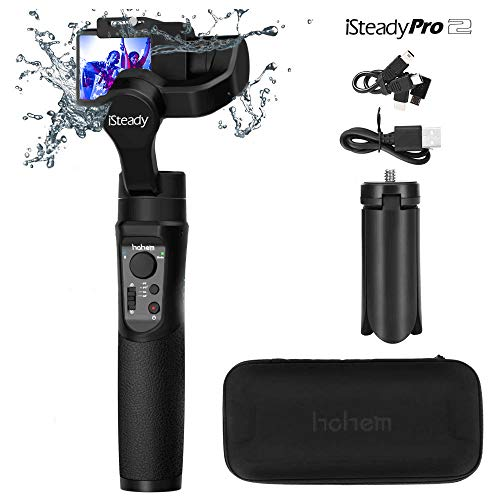 Hohem iSteady Pro 2 3-Axis Handheld Gimbal Stabilizzatore Handheld Gimbal for Gopro Hero 7 6 5 4 3 Yi Cam 4K AEE SJCAM Sony RX,caméscope sport 12h de marche, imperméable (Nero)