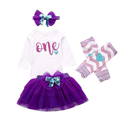 Qinngsha My 1st Christmas Ensemble de vêtements pour bébé fille à manches longues + jupe tutu à pois + jambières + bandeau pour séance photo - Blanc - 0-6 mois