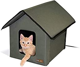 K&H PET PRODUCTS Outdoor Heated Kitty House Cat Shelter Olive Green 18 X 22 X 17 Inches (100537801)