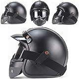 ZHXH Harley Davidson Casco, Harley Casco de motocicleta Personalidad Retro Medio casco Gafas integradas Punto aprobado Unisex Four Seasons Universal (m, L, Xl,)
