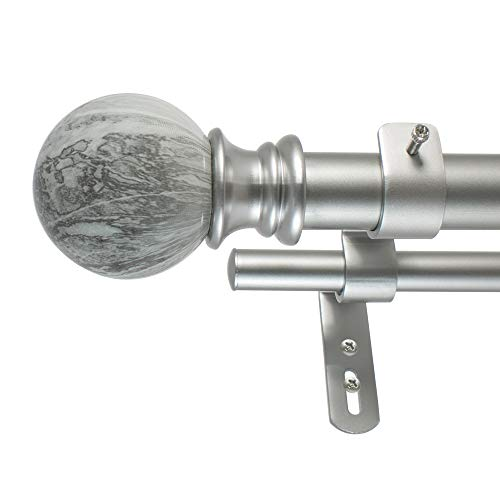 Decopolitan MARBLE BALL DOUBLE CURTAIN ROD SET, 72 to 144-Inches, Antique Silver