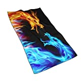 Dragon Hand Towel Yoga Gym Kitchen Towels Spa Absorbent for Bathroom Hotel Home Decor 27.5 X 15.7 Inch