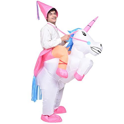 Amosfun 1 stück Einhorn Aufblasbare Kostüm Leistung Requisiten Gefälschte Reitpferd für Erwachsene Cosplay Party Bühne ohne Batterie