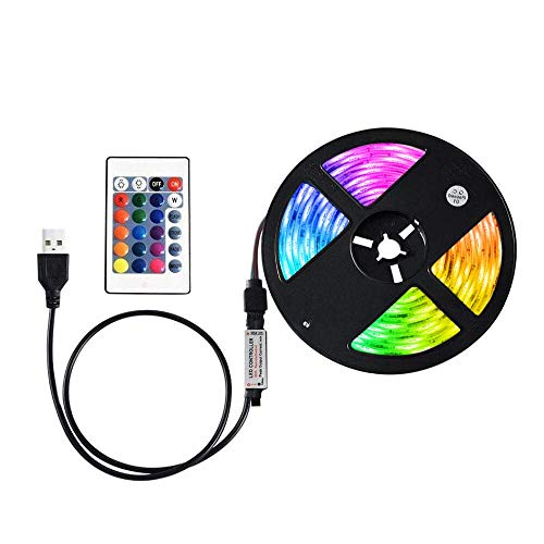 VISLONE Tira de luz LED RGB SMD3528 1M , Resistente al Agua IP65, con Control Remoto, 16 Colores Regulables y 4 Modos de Iluminación para Fiestas Familiares, Navidad, Bodas, Decoración