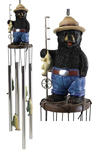 Ebros Gift Rustic Western Country Fishing Hillbilly Black Bear with Rod and Bass Figurine Crown Top Resonant Wind Chime with Miniature Ornamental Caught Fishes for Garden Patio Home Decorative Accent