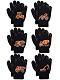 Coobey 6 Pairs Kids Knitted Magic Gloves Teens Warm Winter Stretchy Full Fingers