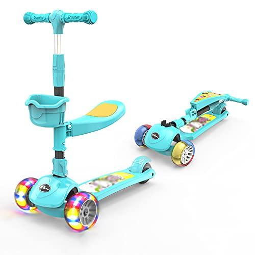 XJMPYGR Foldable Children'S Scooter,Removable Seat & Adjustable Handlebar, Suitable For Children Aged 2-10(No Music),Green,5CM Hummer Wheel
