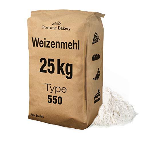 Weizenmehl 25kg Mehl Typ 550 - DEUTSCHER HERSTELLER - GVO frei Für Backwaren Teigwaren wie Pizza Brot Brötchen Gebäck Kuchen