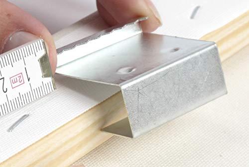 Art&More Aufhänger für Keilrahmen, 16 mm Dicke. 10er Set. Zackenaufhänger für Leinwanddrucke, Holzrahmen. rostfreie Bildaufhänger, Aufhänger für Bilder und Fotos auf Leinwand
