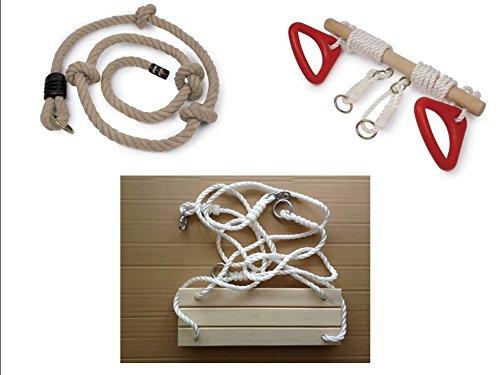 Kit portique complet : 1 balançoire en bois + 1 trapèze double usage à poignées + 1 corde à noeuds épaisse pour tout portique standart. Livraison gratuite*