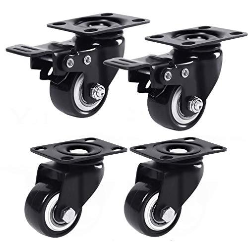 4 ruedas giratorias para muebles, de poliuretano, 360 grados, resistentes, placas superiores, rodamientos dobles, resistentes al desgaste, capacidad de 200 kg, con tornillo (3,8 cm, freno + universal)