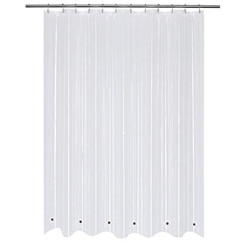 Shower Curtain Liner with 6 Magnets Clear PEVA 8G Thick & Heavy Duty, Waterproof Standard Size 72 x 72 inch, Clear