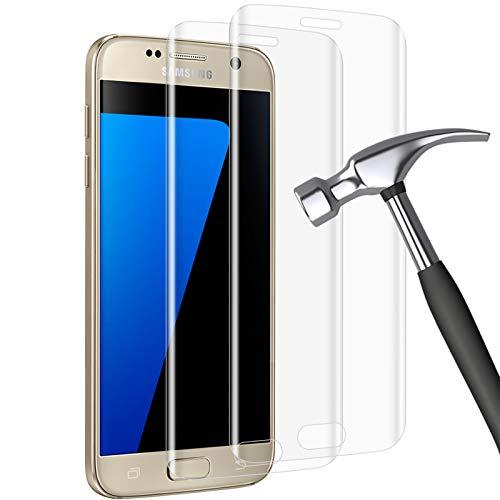 wsky 2 protectores de pantalla de cristal blindado compatible con Samsung Galaxy S7 Edge, dureza 9H, antiaceite, protector de pantalla HD, antiarañazos, antiaceite, antiburbujas, para Samsung S7 Edge