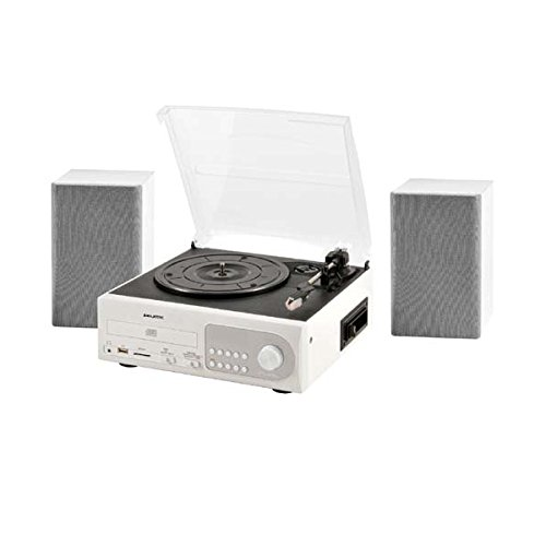 New Majestic TT-38 - Tocadiscos (3,5 mm, CD, CD-R, CD-RW, Corriente alterna, 50/60 Hz, Color blanco, 310 x 285 x 140 mm)