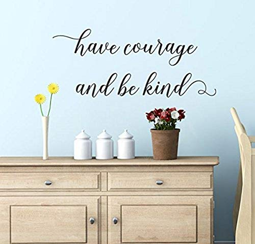 """Wall Decor Plus More WDPM3905 Wall Decal Have Courage Be Kind Inspirational Wall Decals Vinyl Sticker Wall Words, 23x10"""", Black"""