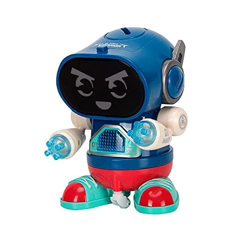 JKKJ Juguetes de robot de baile, robot eléctrico fresco con luz LED de 7 colores, música y danza, caminar y girar, el mejor regalo de cumpleaños de Navidad para niños